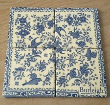 Set of 4 Tiles Vintage blue white floral birds Ceramic Coasters/wall tiles
