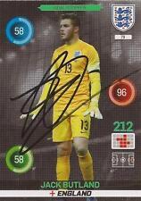 Jack Butland Firmado Inglaterra Euro 2016 Adrenalyn Xl Trading Card + certificado De Autenticidad