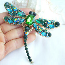 """3.74"""" Dragonfly Animal Brooch Pin Turquoise Green Austrian Crystals EE05684C7"""
