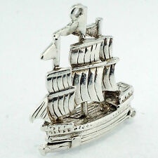 Sterling Silver Openable Galleon Pirate Ship Charm (Approx 22x25mm)