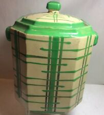 1950 Porcelain Storage Jar Container Cookie Jar Japan Green & Yellow
