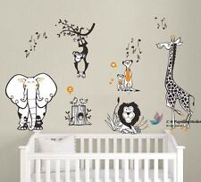 Jungle Animal(lion,elephant,monkey,giraffe)Baby Nursery Wall Decal Sticker Decor