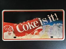 "1980's ""COCA-COLA -COKE IS IT""  LICENSE PLATE Wall Sign"