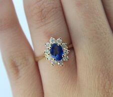 $2,200 BH Effy 14K Yellow Gold Blue Sapphire Diamond Cocktail Ring Band Size 7