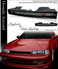 JDM BLACK MESH FRONT HOOD BUMPER GRILL GRILLE GUARD ABS 1990-1993 HONDA ACCORD