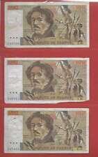 Lot de 3 x 100 FRANCS EUGENE  DELACROIX de 1979/1980 ALPHABETS A.21  M.21  J.23