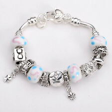 XMAS wholesale 925solid Silver European Murano Glass Bead Charm Bracelet XB079