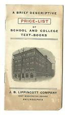 Early 1900s Descriptive Price List School College Text Books Lippincott Co Phila