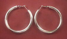50mm HIGH POLISH HOOP EARRINGS THREADER NO STONE UNBRANDED SILVER PLATED