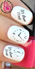 NAIL ART WATER TRANSFERS STICKERS DECALS SETS ITS SHOW TIME CLOCKS/WATCH #412