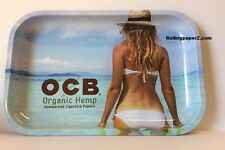 "OCB Rolling papers ""BEACH SCENE"" Metal Cigarette ROLLING TRAY 7""x11"" MEDIUM SIZE"