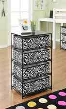 Black White End Table Zebra Side Storage Unit Dresser Nightstand Drawer Cabinet