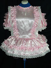 SISSY~MAIDS~ ADULT BABY~UNISEX ~ CD/TV ~ FETISH PINK SATIN AND WHITE LACE DRESS