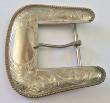 VINTAGE USED MONTANA SILVERSMITHS GERMAN SILVER COLUMBUS MONT. BELT BUCKLE