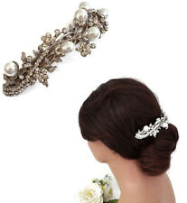 Vintage Style Crystal and Pearl Barrette Hair Clip Spring Clip Bridal Bridesmaid