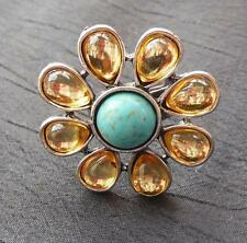 Vintage Large Silver Tone Faux Turquoise  Ring Size 8 to 9
