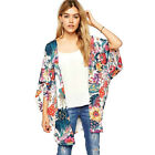 Fashion Women Casual Floral Print Kimono Loose Cardigan Chiffon Tops Blouse XL