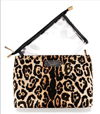 VICTORIA'S SECRET CHEETAH LEOPARD PRINT CLEAR POUCH DUO COSMETICS MAKEUP BAG