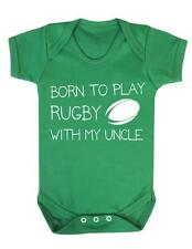 "Baby Grow ""Born to play Rugby with my Uncle "" Rugby baby Play suit / Bodysuit"