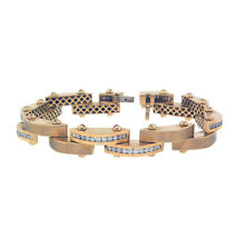 3.76ct ROUND Channel Set Diamond Link MEN'S Bracelet in 14K Yellow Gold