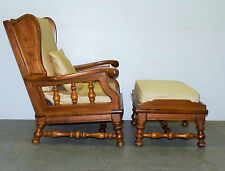 Vintage Ethan Allen Maple Spindle Wing Back Lounge Arm Chair & Ottoman Footstool