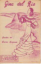 LIVRET PARTITION  LUCIEN LEGRAND (SAMBA) *GINA DEL RIO* (RIO DE JANEIRO BRESIL)