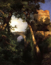 Large Oil painting Thomas Moran - Two Owls in the morning landscape with castle
