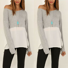 Fashion Womens sexy casual long sleeve top shirt blouse uk size s