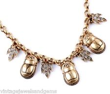 EGYPTIAN REVIVAL SCARAB CRYSTAL RHINESTONE Vtg Choker Pendant Statement Necklace