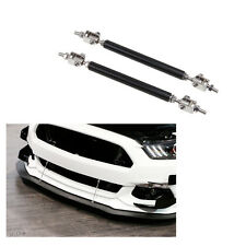 BLACK Universal Car Front Bumper Lip Splitter Rod Strut Tie Bar Support Kit JDM