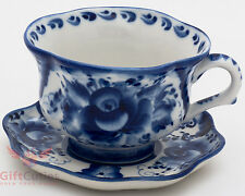 Porcelain Gzhel Cup & Saucer set author's work handmade in Russia