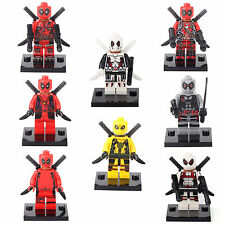 Deadpool Spider-Man Super Hero 8 Minifigures Building bricks Toys Xmas gift lEGO