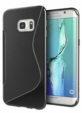 Samsung Galaxy S7 Edge Black S Line Soft TPU Silicone Gel [Wave Design] Case