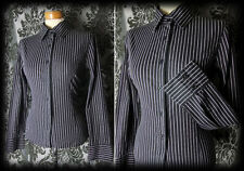 Gothic Black Pinstripe Fitted VICTORIAN GOVERNESS Formal Blouse 10 12 Steampunk
