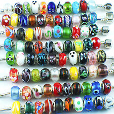 Lot 50pcs Mixed Murano Lampwork Glass Beads Fit European Charm Bracelets Handmad