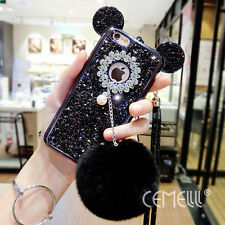 New Arrival Glitter Diamond Mouse Ears Soft Furry Ball Case Cover For iPhone