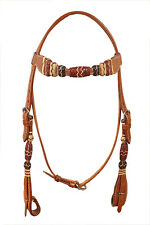 Western Natural Leather Rawhide Braided Browband Style Headstall