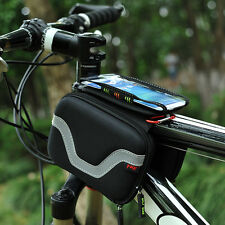 Bicycle Front Tube Bag Phone Holder Touch Screen Mountain Bike Saddle Handlebar