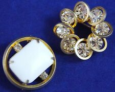 Lot/2 VTG c1950's -1 JUDY LEE- CLEAR RHINESTONES & LUCITE MILK GLASS Brooch Pin