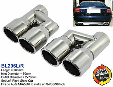 Exhaust tips tailpipes trims S/Steel for Audi A4 A5 A6 A7 A8 S4 S5 S6 S7 S8