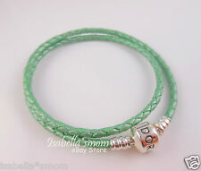 "NEW Genuine PANDORA Mint~Sea GREEN Leather/Silver DOUBLE BRACELET 16.1""/41 Large"