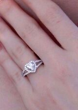 14K White Gold Heart Man made diamond Engagement Ring
