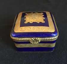 ATQ VTG Limoges Hand Painted Decorated COBALT BLUE GOLD GILT Trinket PILL BOX