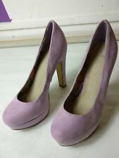 FAITH WOMENS PURPLE SUEDE HIGH HEELS PUMP SLIM PLATFORM SHOES SIZE UK 5 EU 38