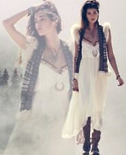 Free People Gypsy Heart Tiered Ruffle Ivory Cream Maxi Dress Retails 198.00