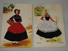 Amager Embroidered Silk fabric Denmark Ethnic Dress postcard Salling Danmark LOT