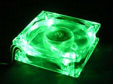 Green Quad 4-LED Light Neon Quite Clear 80mm PC Computer Case Cooling Fan Mod