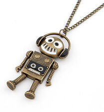 Punk Retro Kitsch Love Music Quirky DJ Dance Headset Robot Pendant Necklace Gift