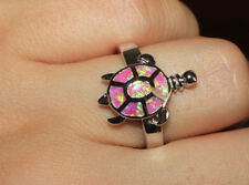 fire opal ring gemstone silver jewelry Sz 6 7 8 chic cocktail Turtle design band