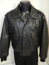 Vtg 90's RAGE Men's A-2 BLACK Leather FLIGHT BOMBER Jacket MOTORCYCLE Coat S 38